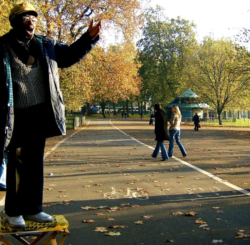 A man standing on a crate talking in Hyde Park.