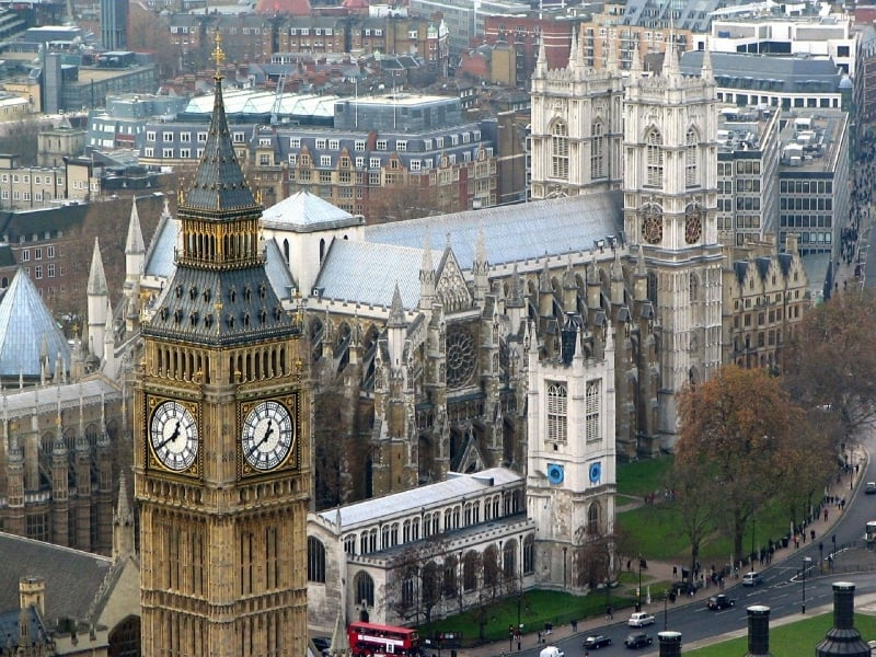 An aerial view of Westminster Abbey.