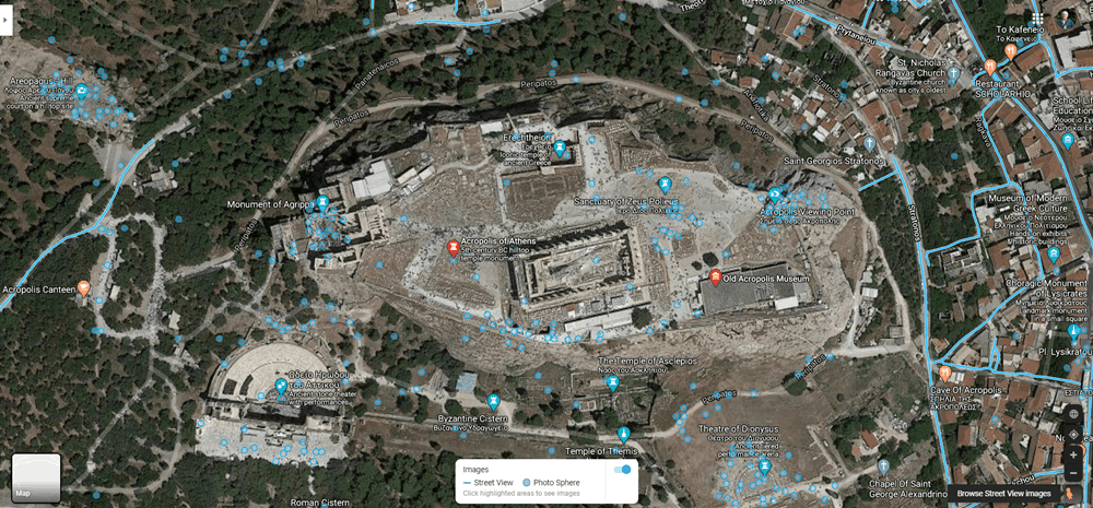 The Acropolis in Athens on Google Street View.