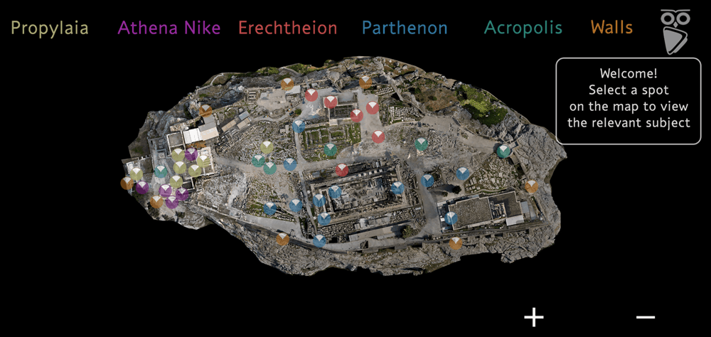 An interactive map for a virtual tour of the Acropolis.