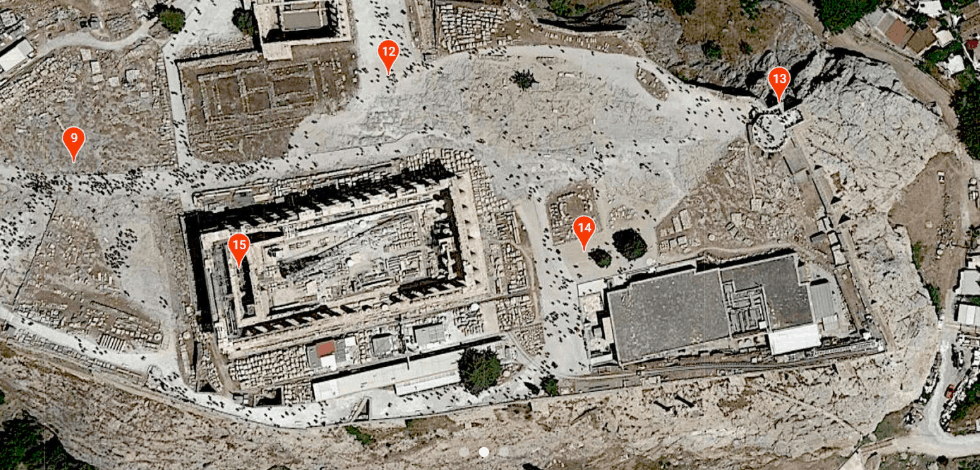 Plan for the audio tour of the Acropolis.