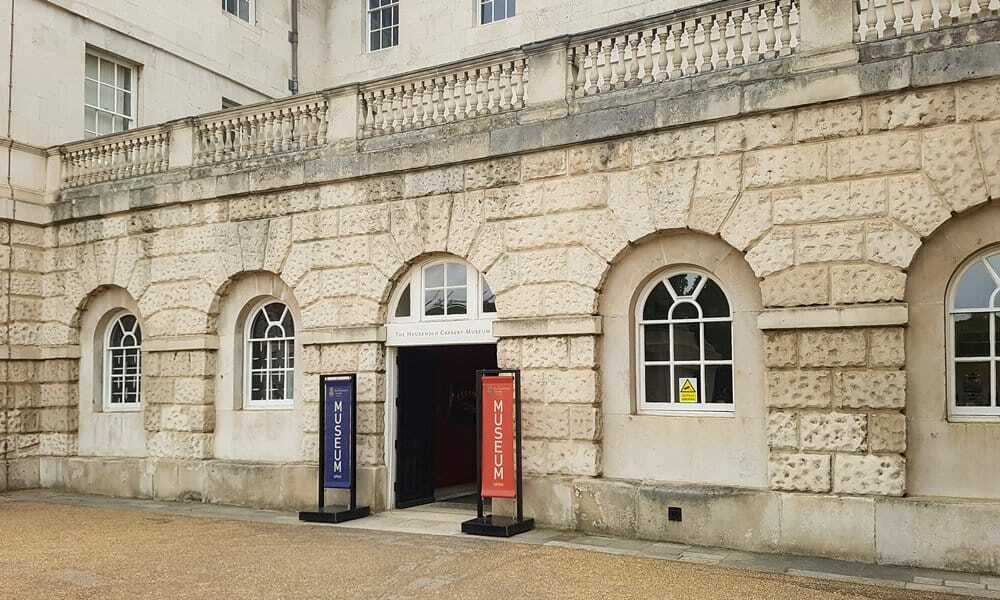 Entrance to the Household Cavalry Museum on Horse Guards Parade, London.