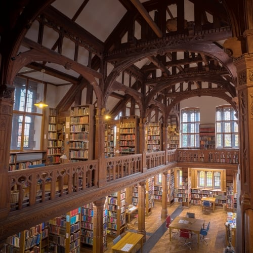 Inside Gladstone's Library showing wooden bookcases filled with books.