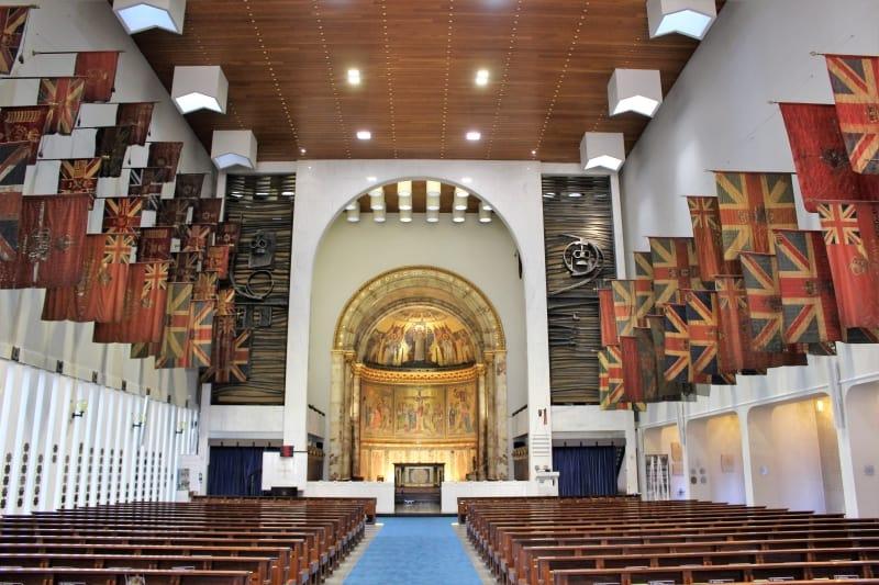Inside the Guards Chapel on Birdcage Walk in london.