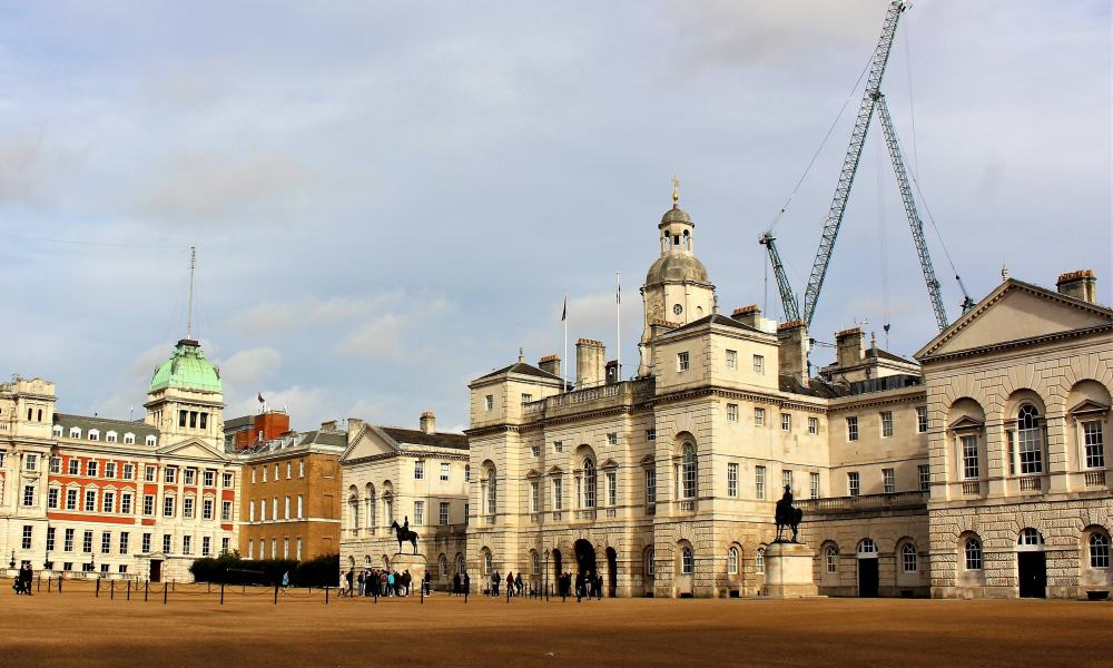Horse Guards Parade with the Horse Guards building in the background.