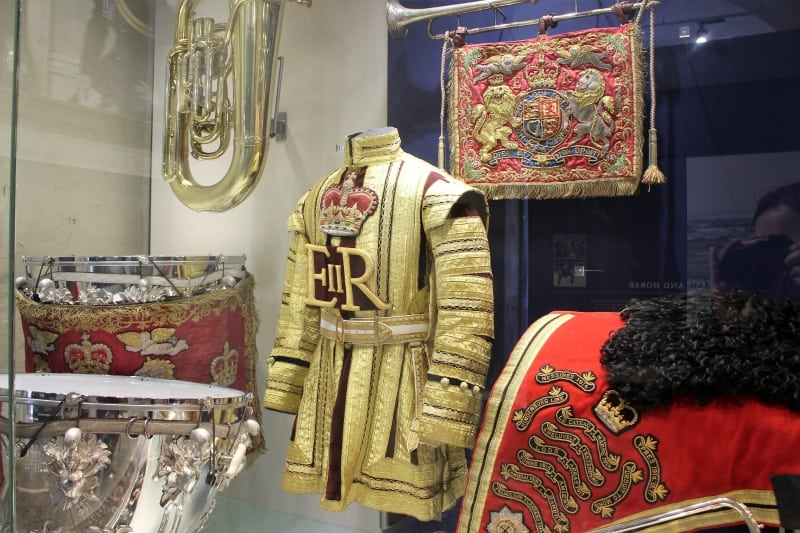 A display of military uniforms in the Household Cavalry Museum.