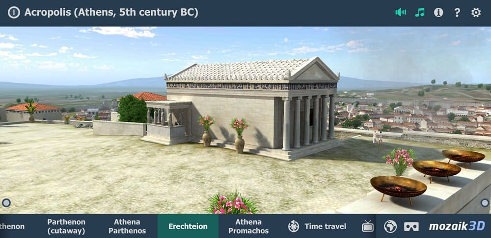 A reconstruction of the Erechtheion on Mozaik's 3D interactive app of the Acropolis.