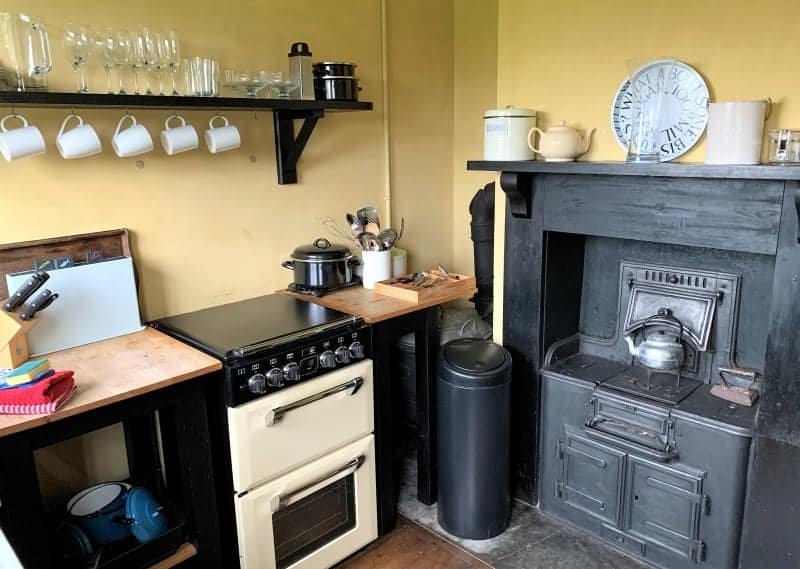 The kitchen with a cast iron range in the Vintage House in Aldeburgh.