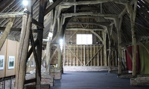 A Medieval barn that is part of the Museum of East Anglian Life.