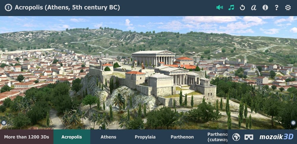 Screenshot from the Mozaic Acropolis 3D app.