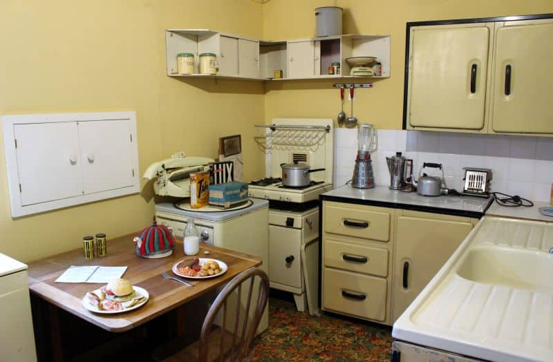 The inside of a re-created 1950s style kitchen.