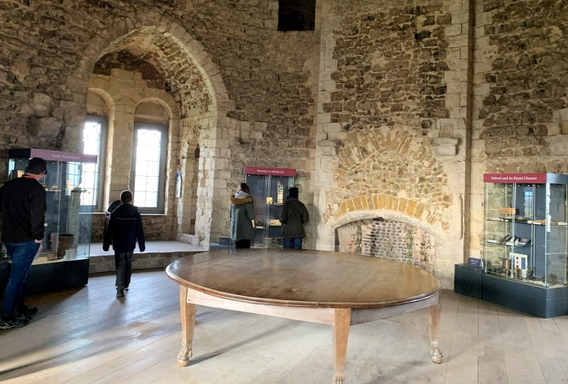 The museum area in the Upper Hall of Orford Castle.