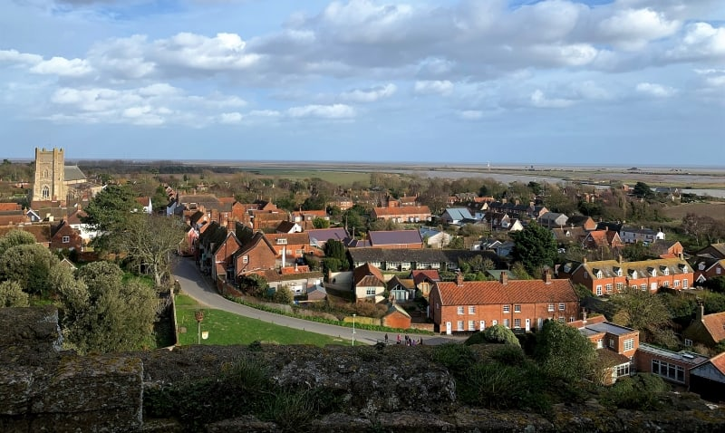 A view over the rooftops of Orford taken from the top of the Keep.