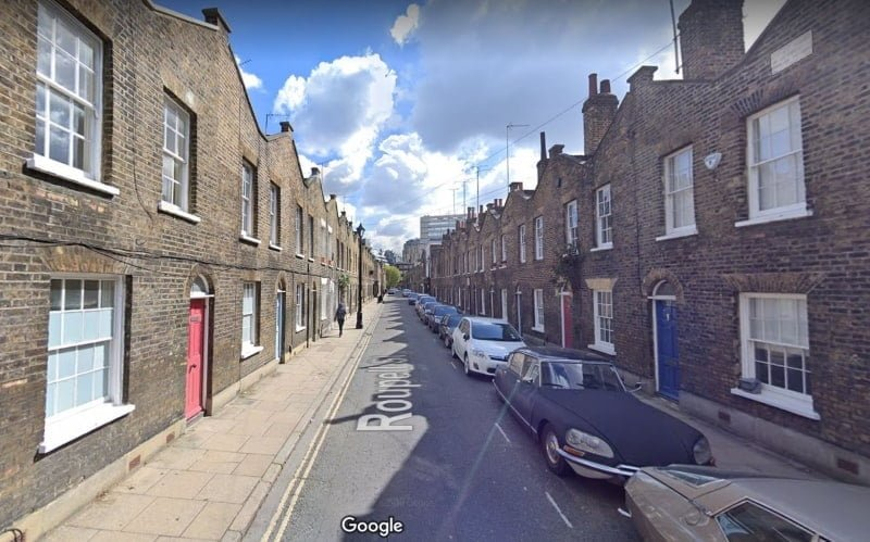 A street view of Roupell Street in London.