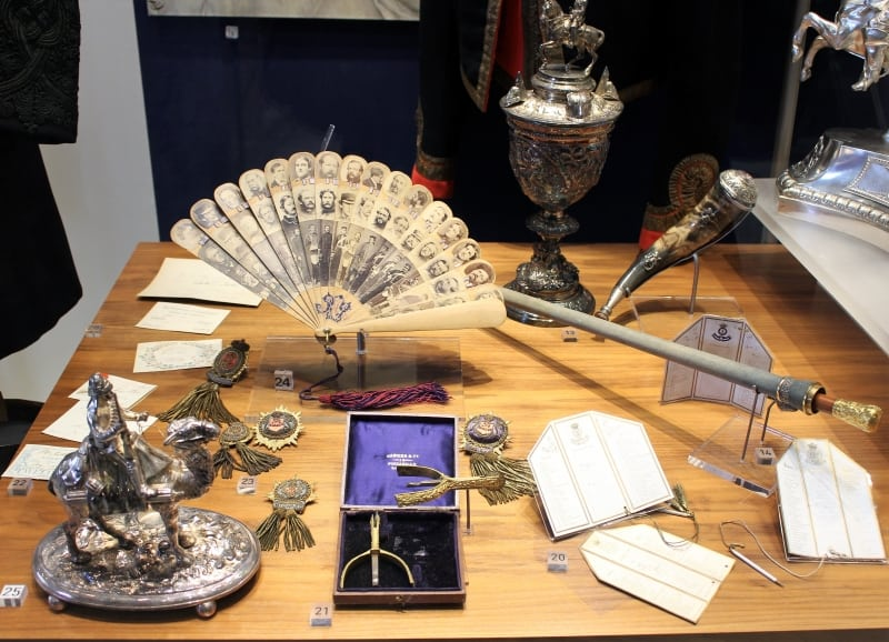 A display of emphemera from the 17th and 18th centuries social life of the Household Cavalry.