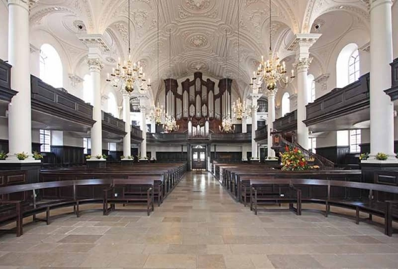 The interior of St. Martin in the Fields church in London.