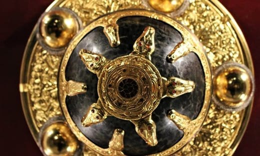 A replica of one of the shields found at Sutton Hoo in Suffolk.