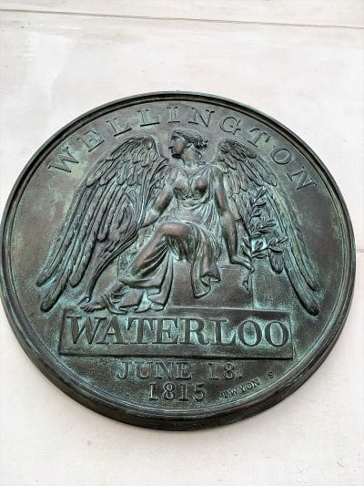 A close up of the replica campaing medal for Waterloo.