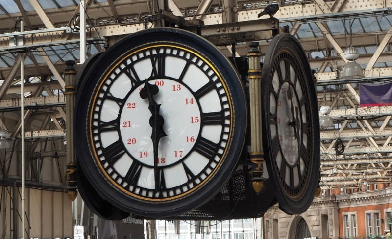 A close up of the clock in Waterloo Station.