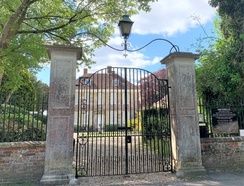 The gates to Arundells House in Salisburys Cathedral Close.