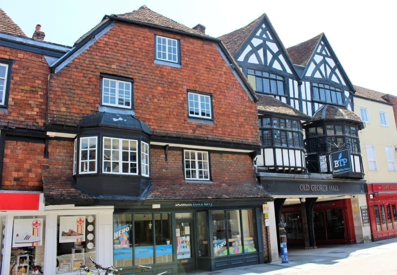 The outside of Boston Tea Party which was the Old George Inn in Salisbury.