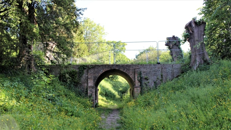 A brick bridge over the outer bailey of Downton Moot surrounded by trees and plants.