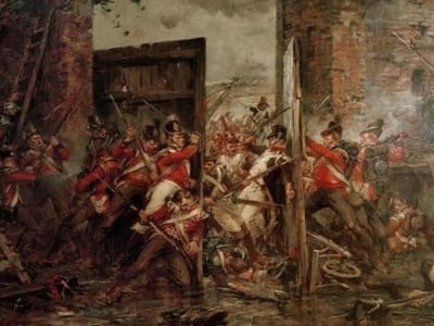 A painting showing soldiers closing the gates at Hougomont Farm.