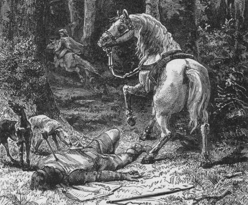 A black and white engraving of the death of William II in the forest.