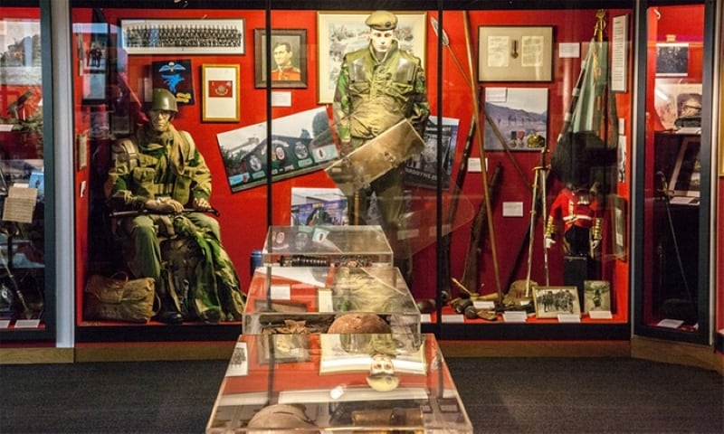 A display case inside the Guards Museum.