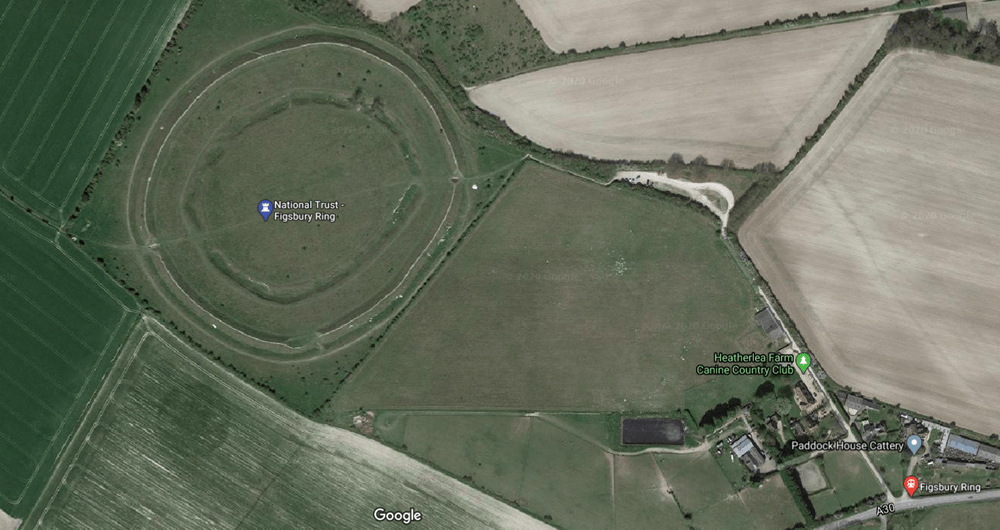 Figsbury Ring from above on Google maps.