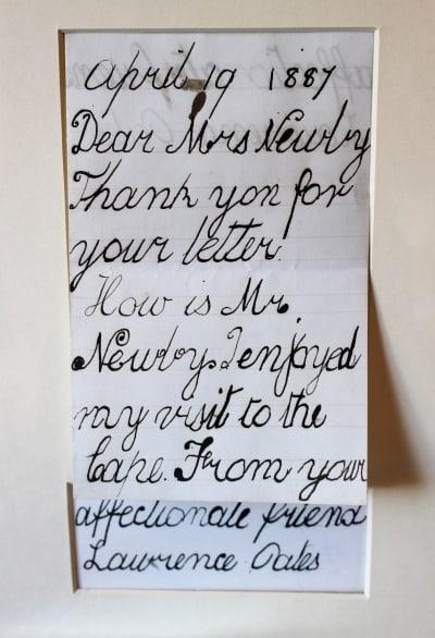 A letter written by Lawrence Oates when he was 7.