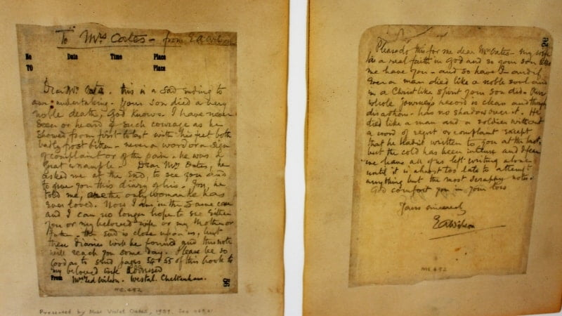 A close up of the letter sent to Mrs Oates telling her how he died at The Wakes in Selborne.