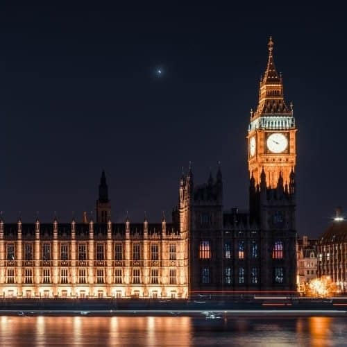 British Houses of Parliament at night.