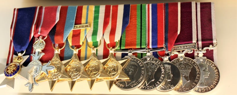A brace of medals won by Sgt Lord during his military career now on display in the Lord room at Sandhurst.