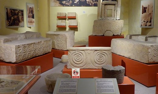 A display about the megalithic temples in the National Archaeology Museum, Valletta.