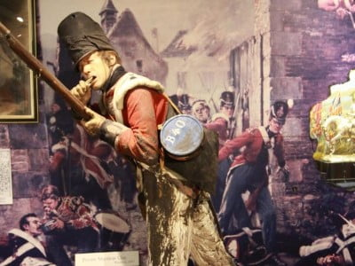A display in the museum of Matthew Clay at the Battle of Waterloo.