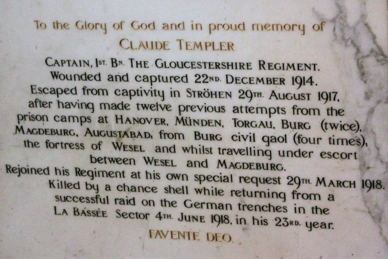 A close up of a memorial to Claude Templer who made over 12 escape attempts from the Germans in World War I.