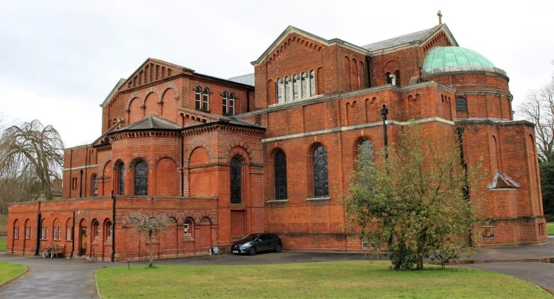 The exterior of the Memorial Chapel at Sandhurst.