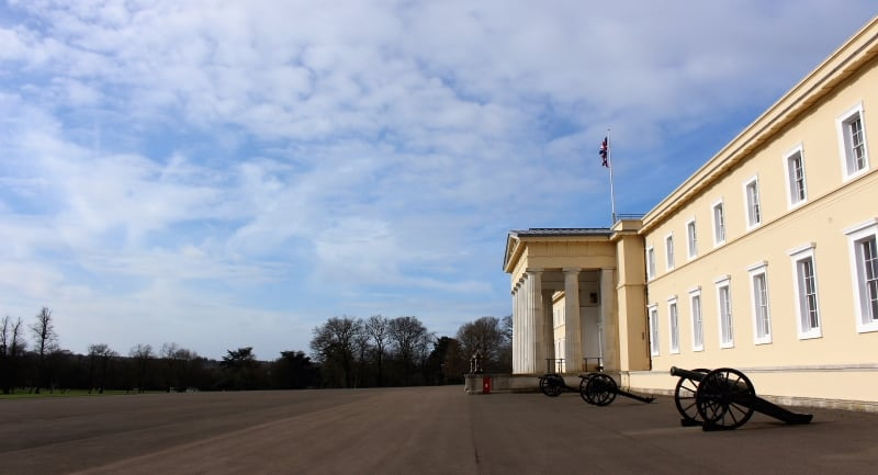 The side of the old college showing the parade ground at Sandhurst.