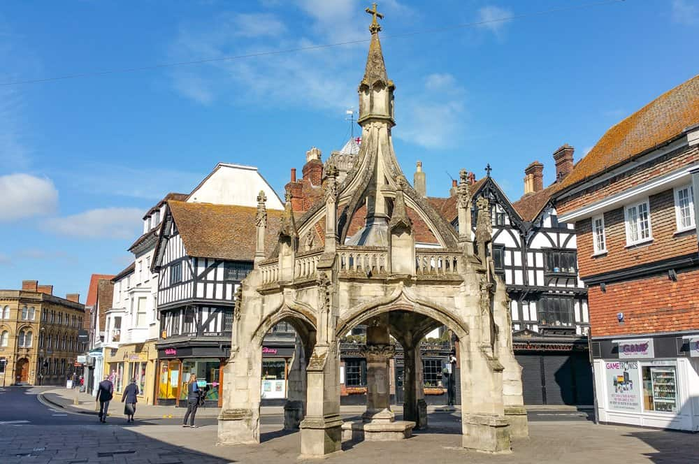 The stone Poultry Cross in the street in Salisbury.