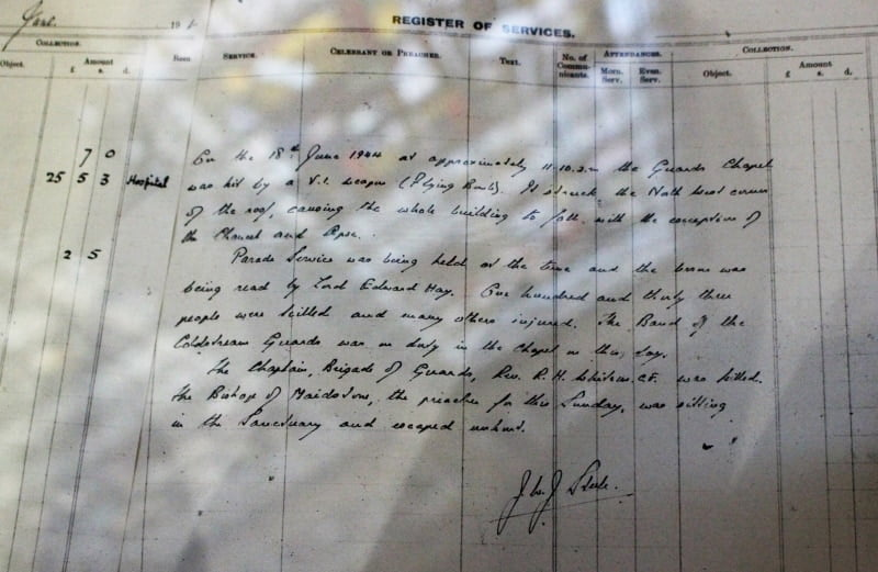 A close up of the register recording the service when the bomb hit in the Guards Chapel in London.