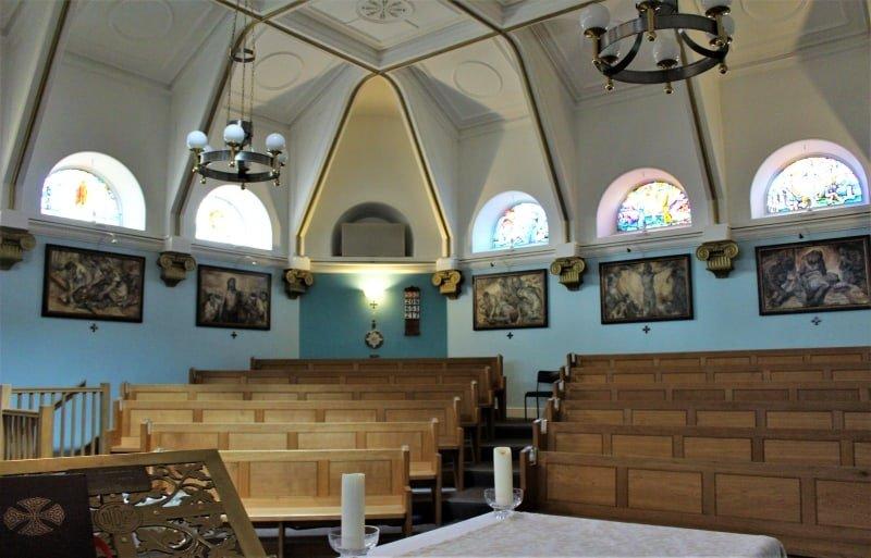 The interior of the Roman Catholic chapel at Sandhurst.