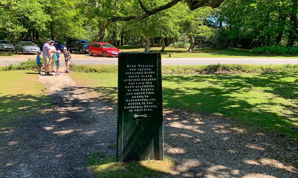 One of the three sides of the Rufus stone in the New Forest, England.