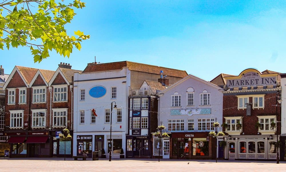 New shops in old buildings on Salisbury's Market Square.