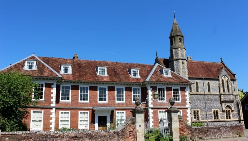 The exterior of Sarum College in the cathedral close.