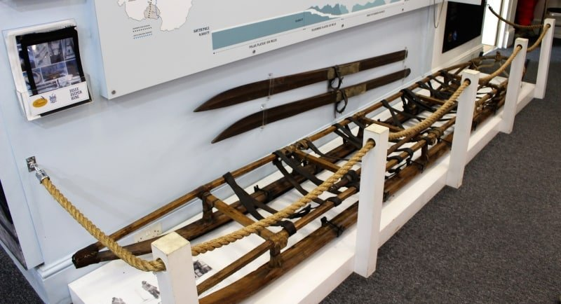 The sledge and skis taken on Scotts Antarctic expedition.