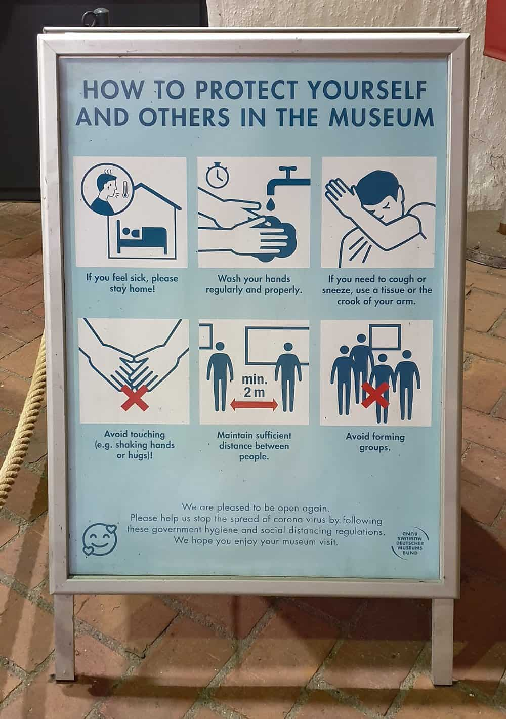 A public safety notice at the Spandau Citadel in Berlin, Germany.