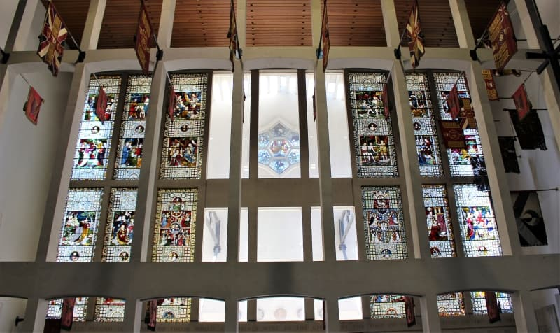 The stained glass window in the Guards Chapel.