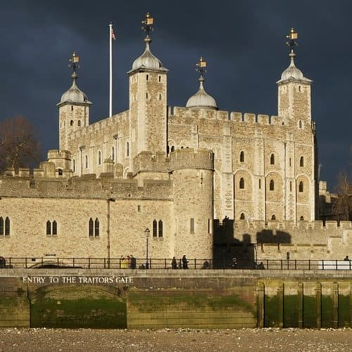 The Tower of London on the banks of the Thames River, London.