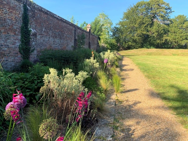 An old brick wall with a herbaceous border in front of it in the sunshine.